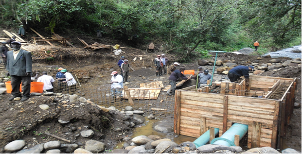 Construction of an intake at Merereini